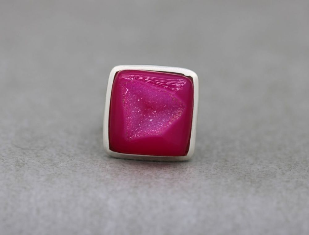 Sterling silver & dyed bright pink druzy quartz ring