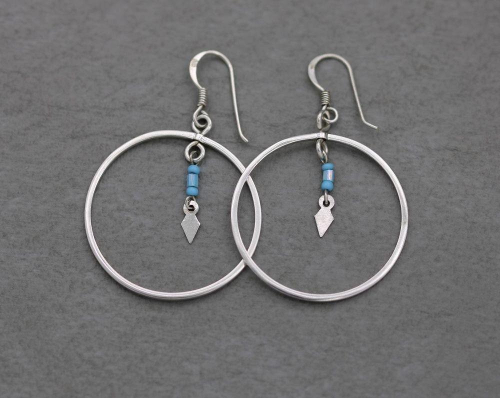 Sterling silver & blue bead hoop earrings