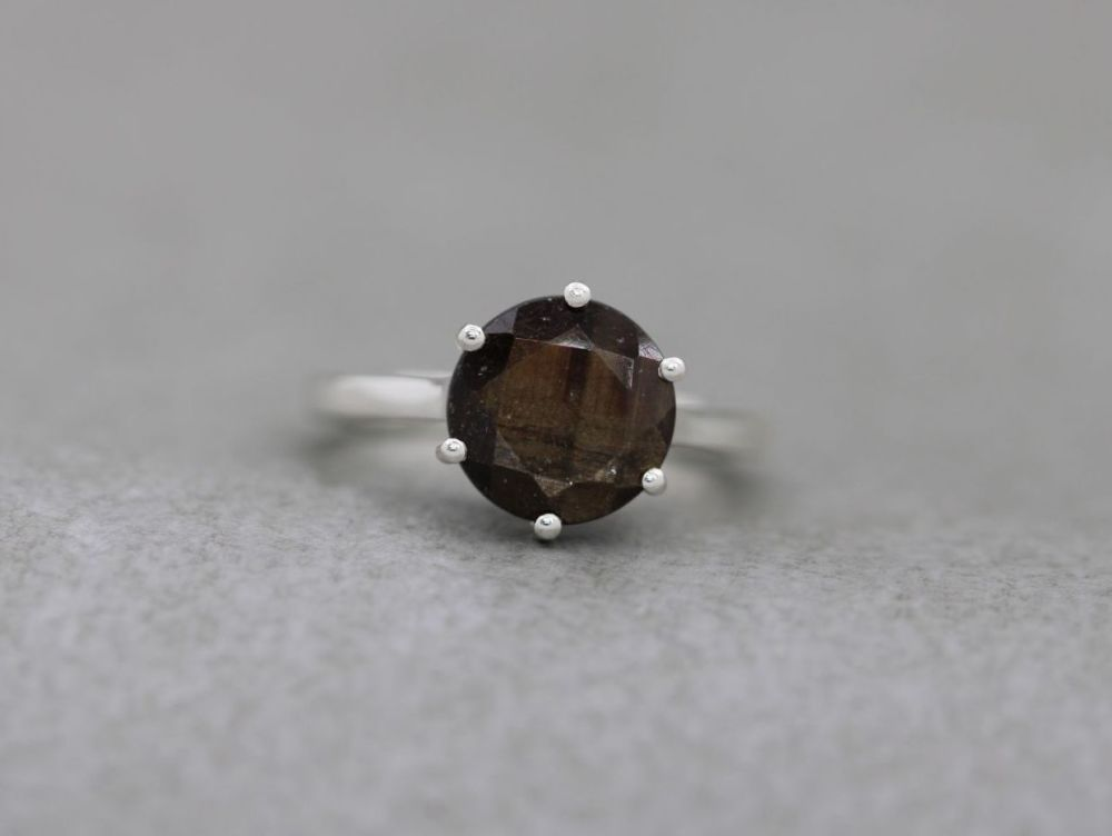 Bold sterling silver & golden brown gemstone solitaire ring