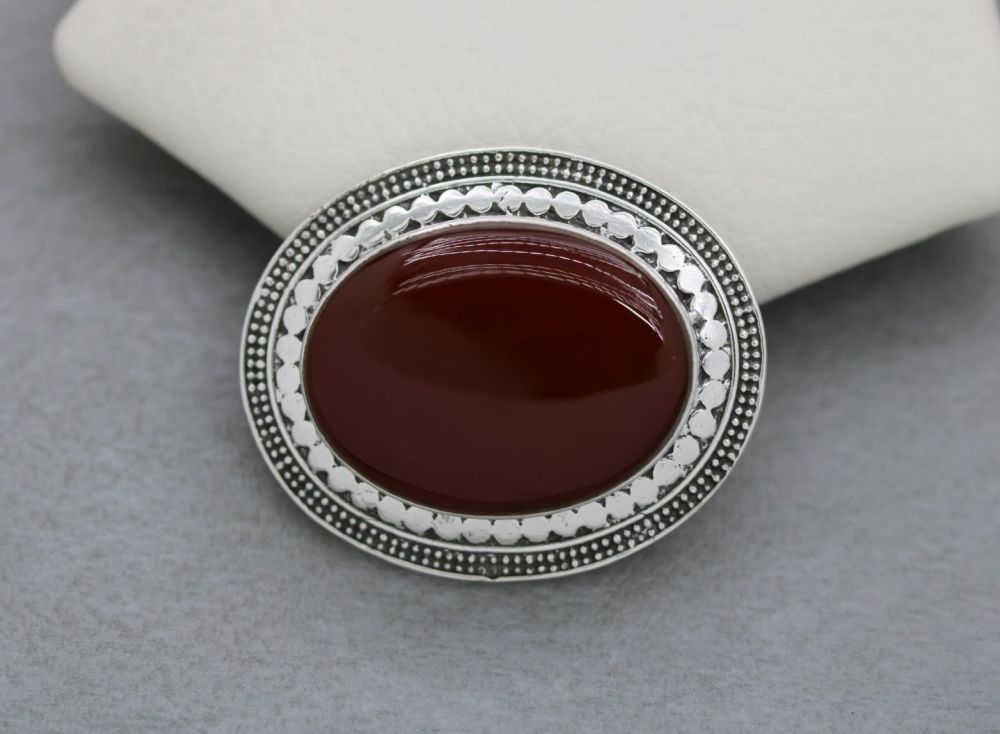 Large textured sterling silver & carnelian brooch