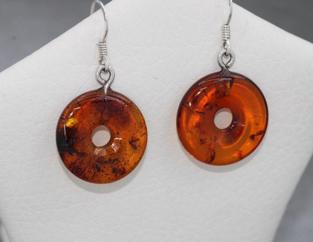 Sterling silver & amber doughnut earrings