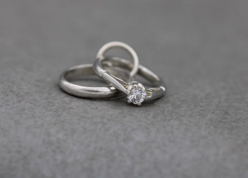 Vintage sterling silver charm; wedding band & solitaire engagement ring duo