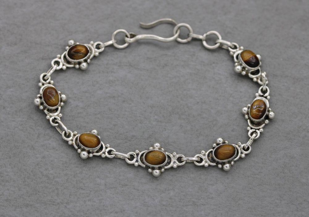 Sterling silver & tigers eye bracelet