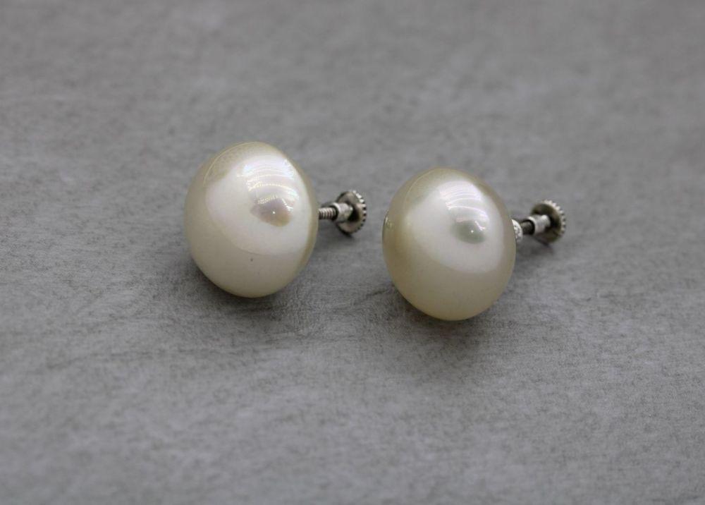 Vintage sterling silver & button pearl earrings