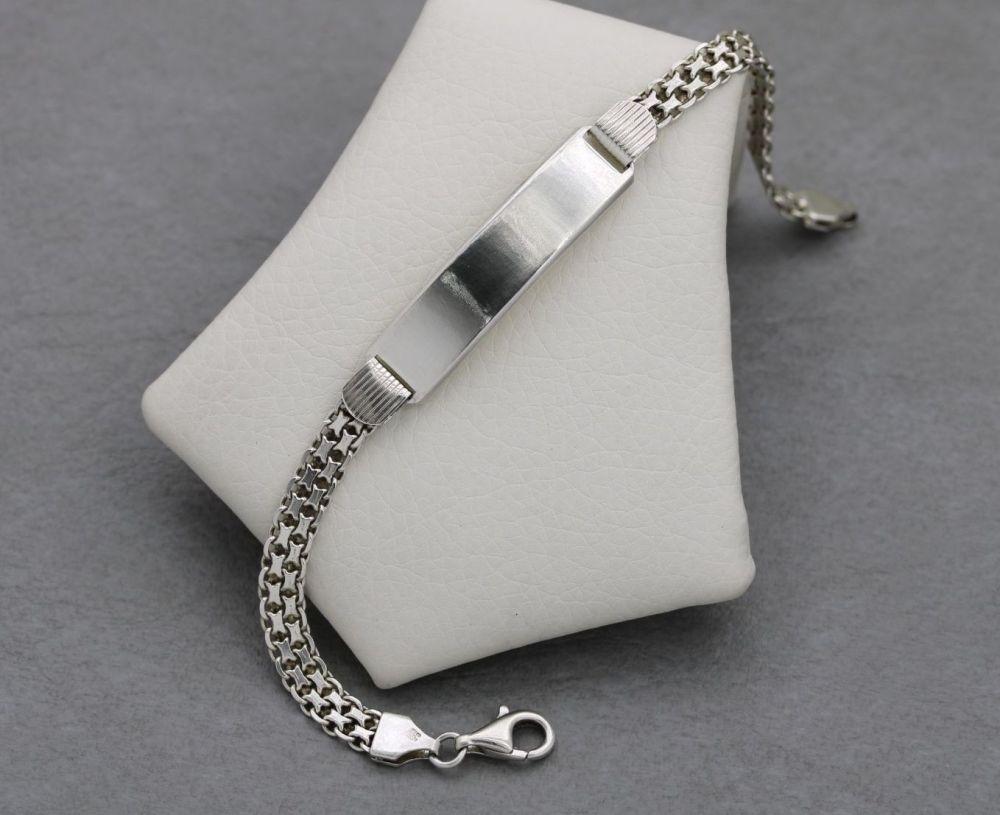 Fancy Italian sterling silver identity bracelet