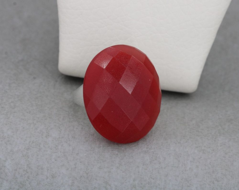 Chunky sterling silver & faceted carnelian ring