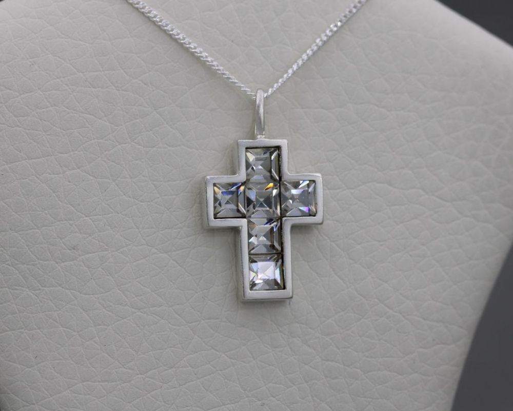 Small sterling silver & clear square stone cross necklace