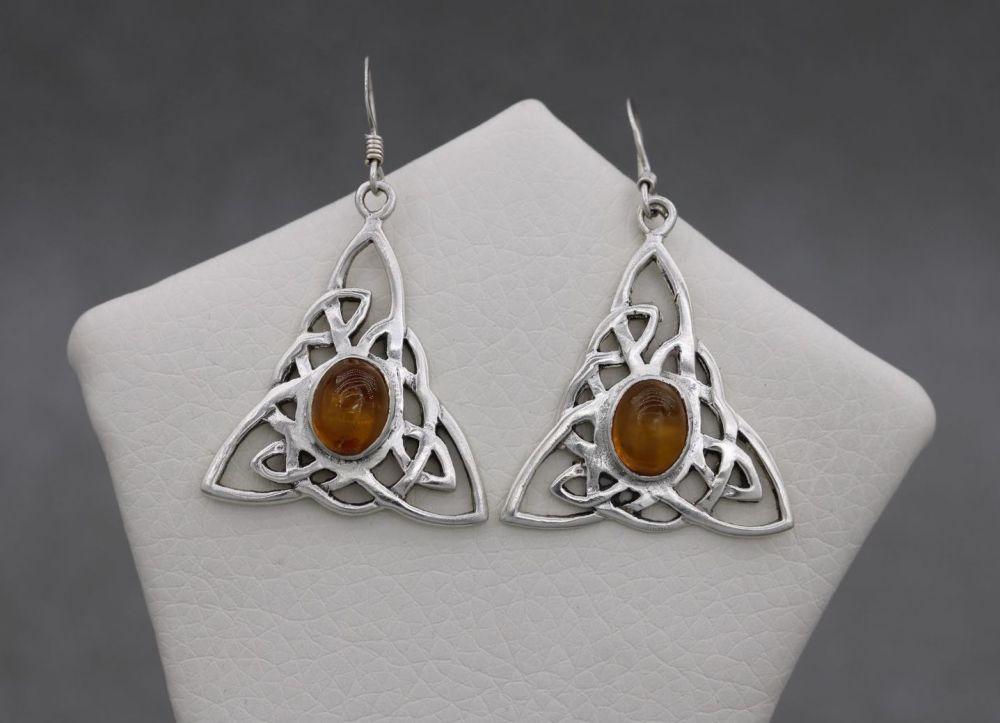 Celtic sterling silver & amber earrings
