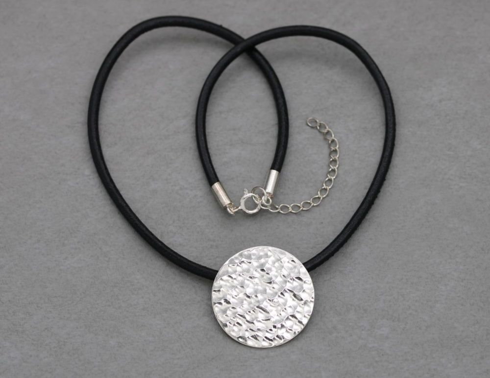 Handmade textured sterling silver & black leather thong necklace