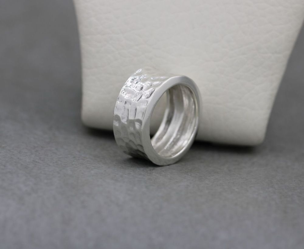 Hammer textured sterling silver ring