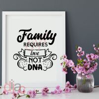FAMILY REQUIRES LOVE NOT DNA <br>15 x 15 cm