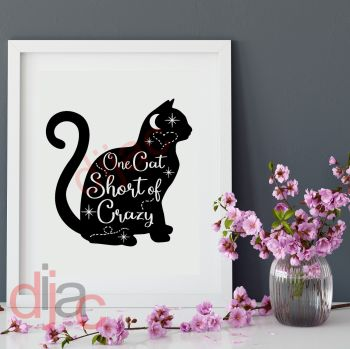ONE CAT SHORT OF CRAZY VINYL DECAL