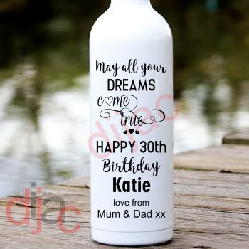 MAY ALL YOUR DREAMS COME TRUE BIRTHDAY (D1)PERSONALISED8 x 17.5 cm