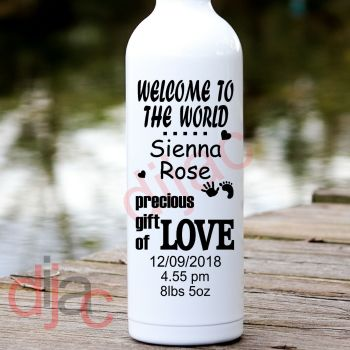 WELCOME BABY (D2)PERSONALISED8 x 17.5 cm
