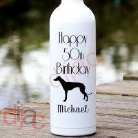 HAPPY BIRTHDAY WITH GREYHOUND<br>PERSONALISED<br>8 x 17.5 cm