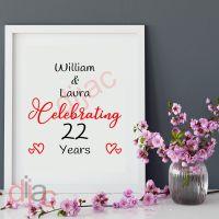 WEDDING ANNIVERSARY<br>PERSONALISED<br>15 x 15 cm