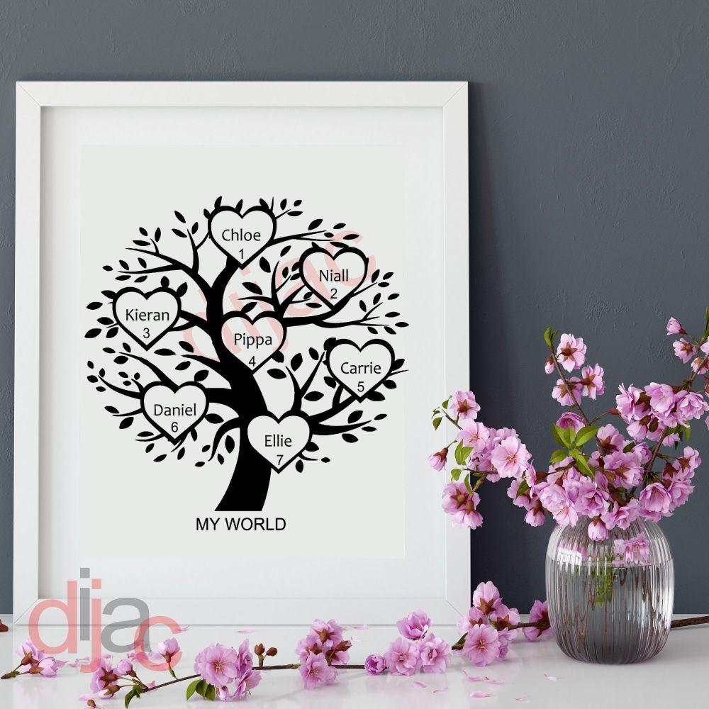 7 NAME FAMILY TREE 15 x 15 cm