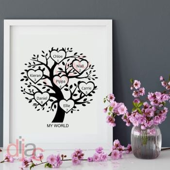 7 NAME FAMILY TREE 15 x 15 cm