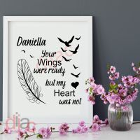 YOUR WINGS WERE READY<br>PERSONALISED<br>15 x 15 cm