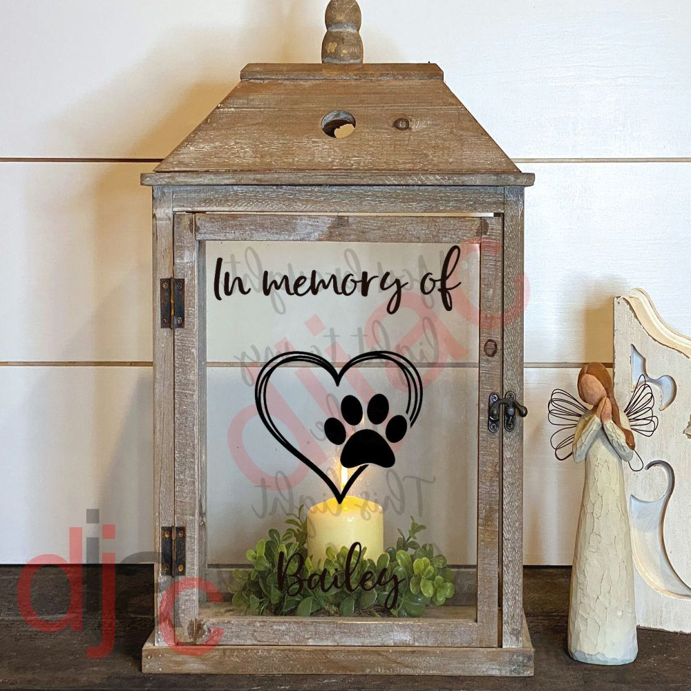 PET MEMORIAL 2 part LANTERN DECAL 13 x 9 cm