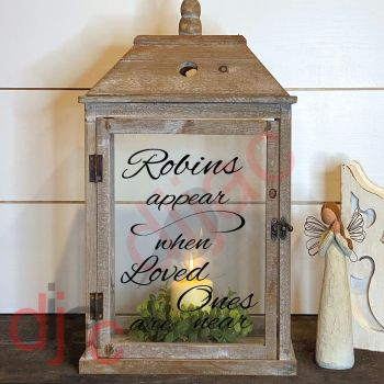 ROBINS APPEAR 2 part LANTERN DECAL 13 x 9 cm