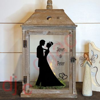 WEDDING DAY 2 part LANTERN DECAL 13 x 9 cm