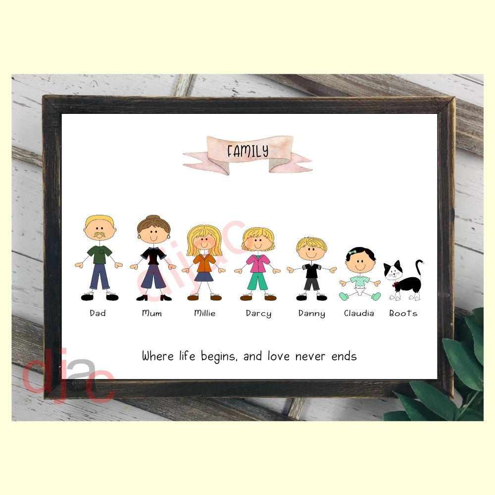7 CHARACTER HAPPY FACES STICK FAMILY PRINT