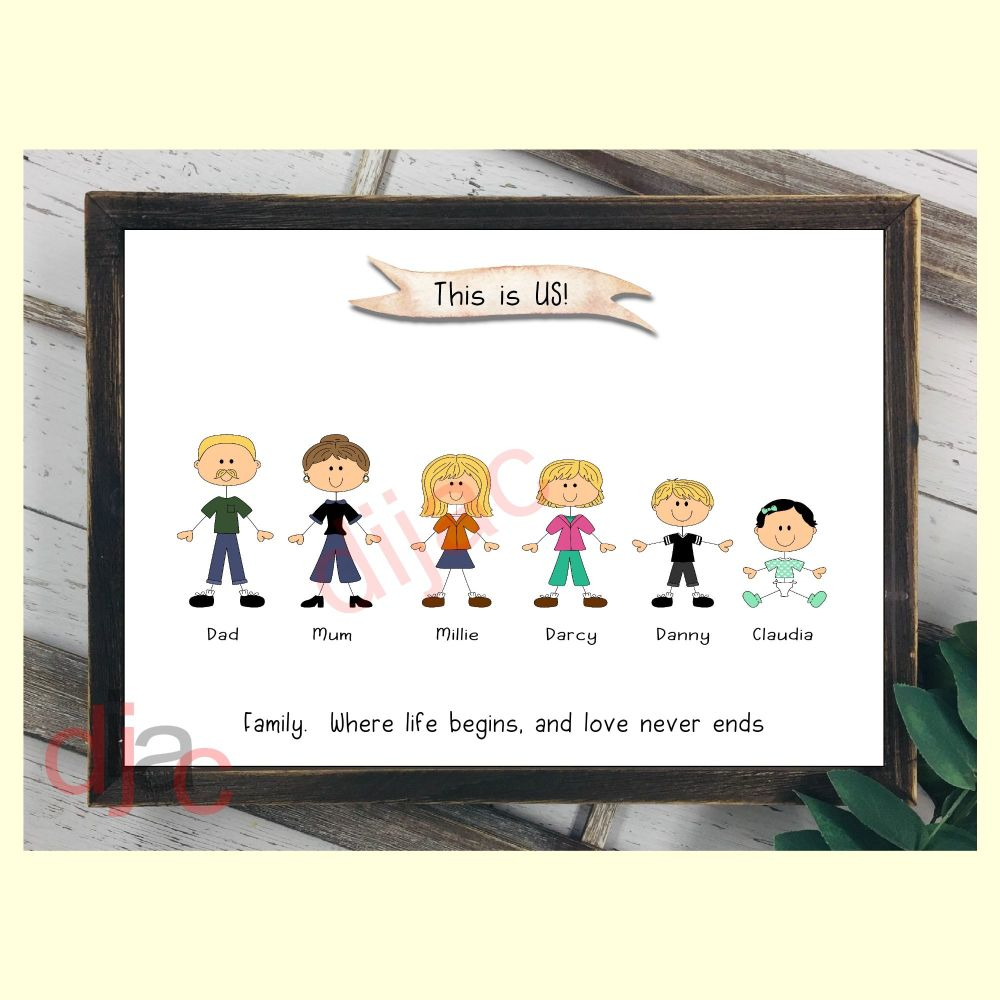 6 CHARACTER HAPPY FACES STICK FAMILY PRINT