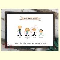 4 CHARACTER HAPPY FACES STICK FAMILY PRINT
