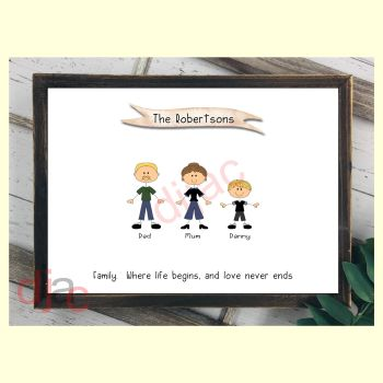3 CHARACTER HAPPY FACES STICK FAMILY PRINT