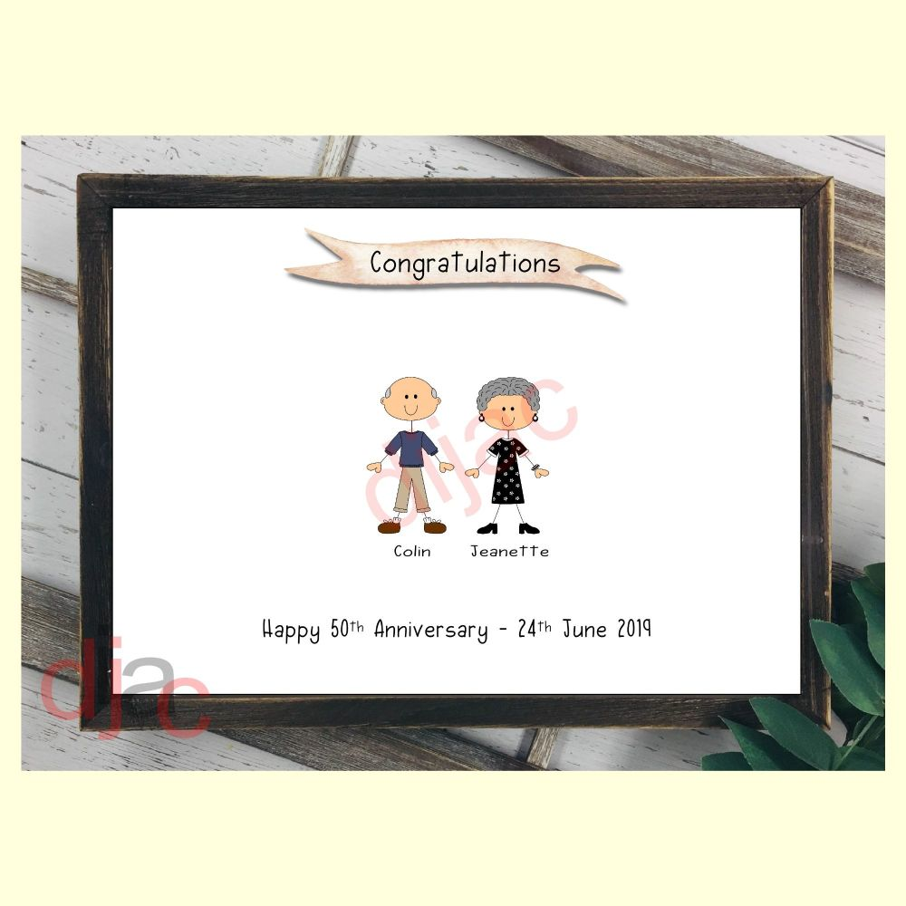 2 CHARACTER HAPPY FACES STICK FAMILY PRINT
