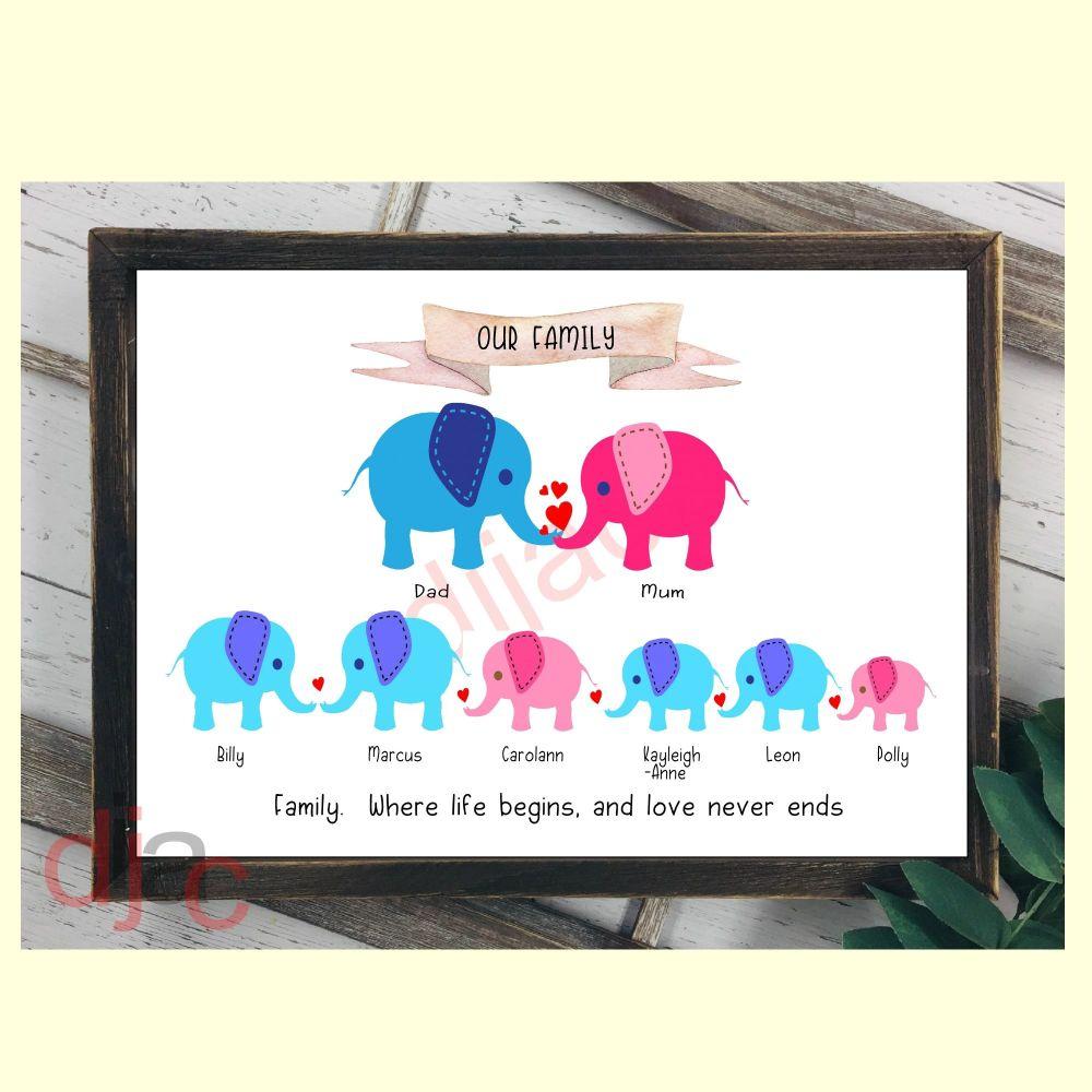 8 CHARACTER ELEPHANT FAMILY PRINT
