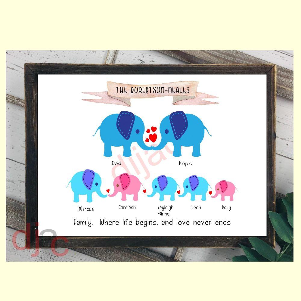 7 CHARACTER ELEPHANT FAMILY PRINT