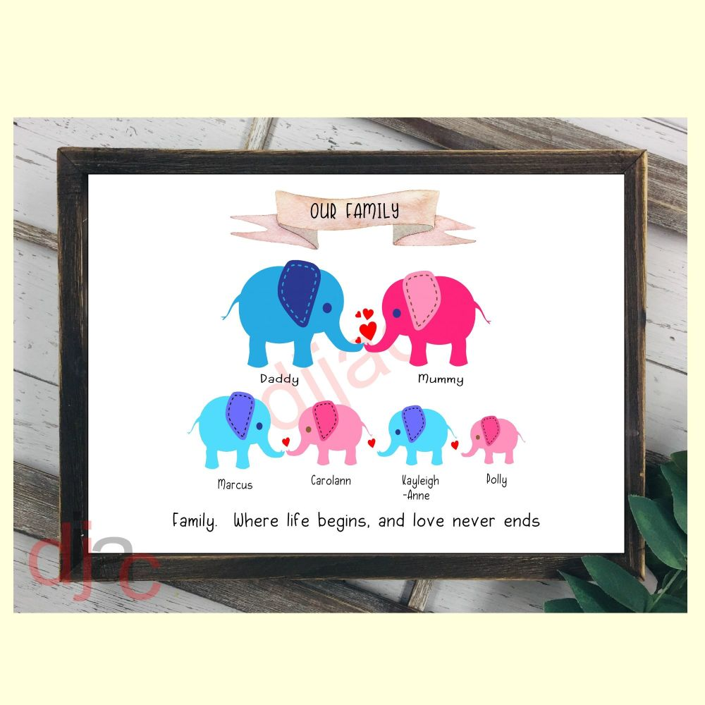 6 CHARACTER ELEPHANT FAMILY PRINT