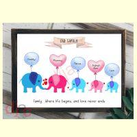 5 CHARACTER ELEPHANT FAMILY PRINT