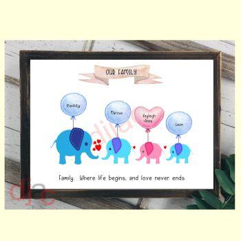 4 CHARACTER ELEPHANT FAMILY PRINT