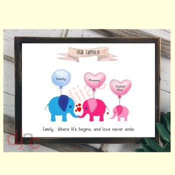 3 CHARACTER ELEPHANT FAMILY PRINT