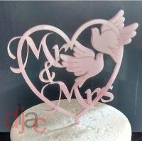 MR & MRS with DOVES WEDDING CAKE TOPPER