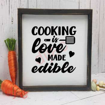 COOKING IS LOVE MADE EDIBLE VINYL DECAL