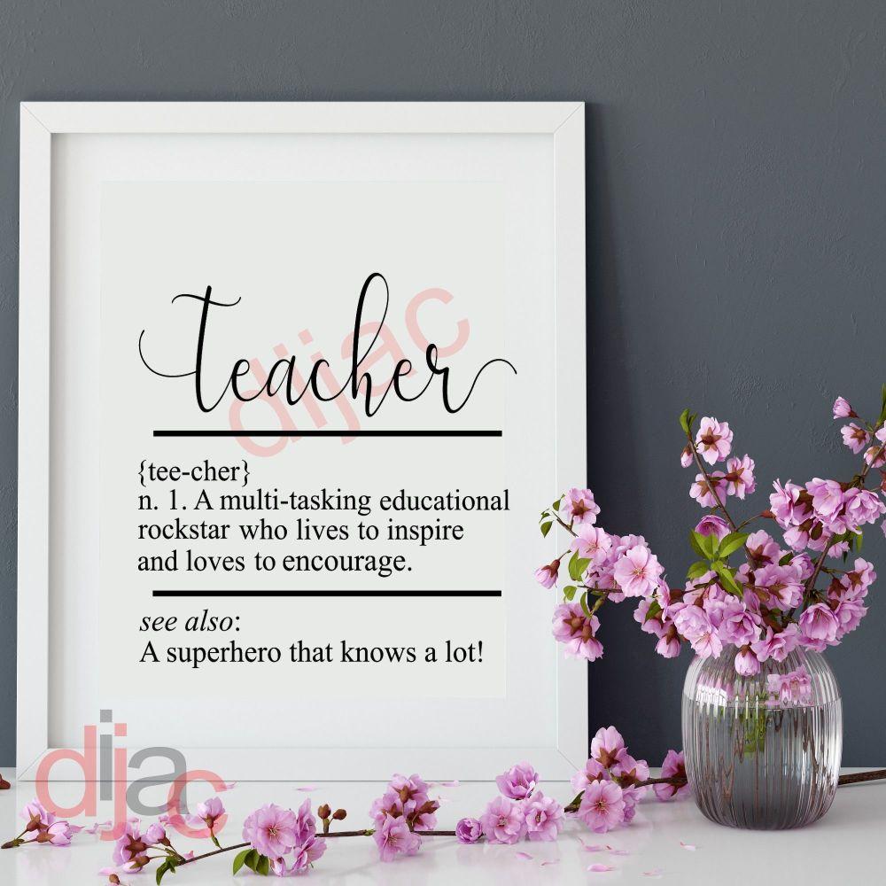 TEACHER NOUN DEFINITION VINYL DECAL