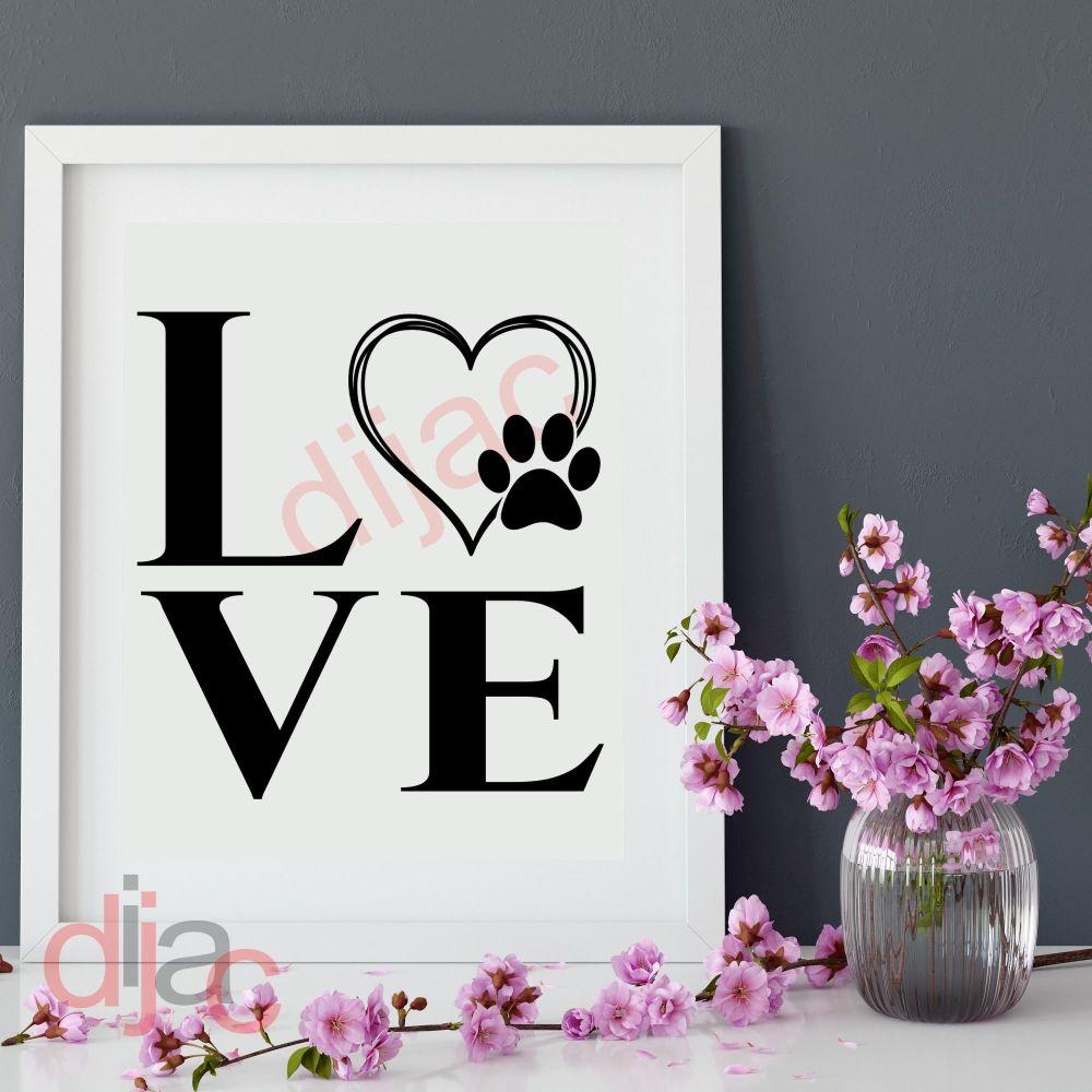 LOVE with PAW PRINT 15 x 15 cm