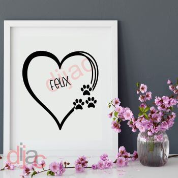 CAT PAW PRINTS HEARTPERSONALISED15 x 15 cm