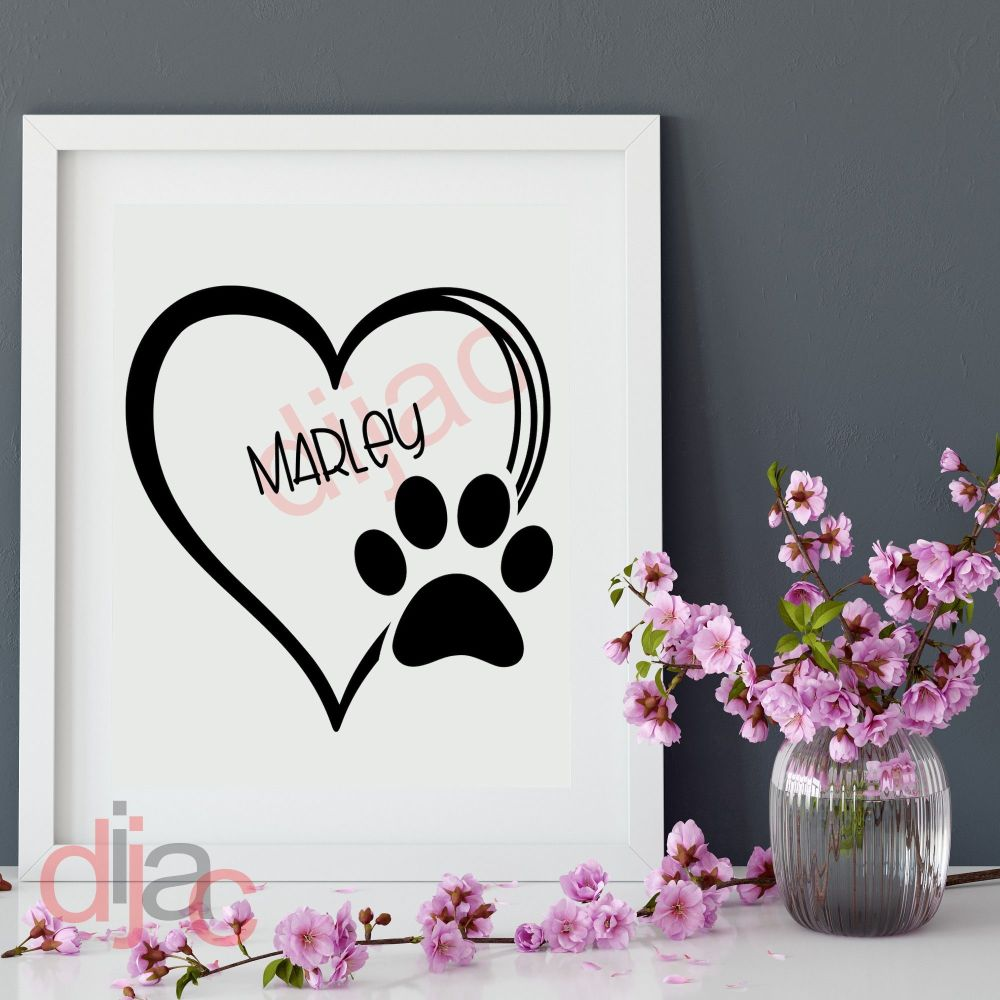 DOG PAW PRINTS HEART 15 X 15 cm