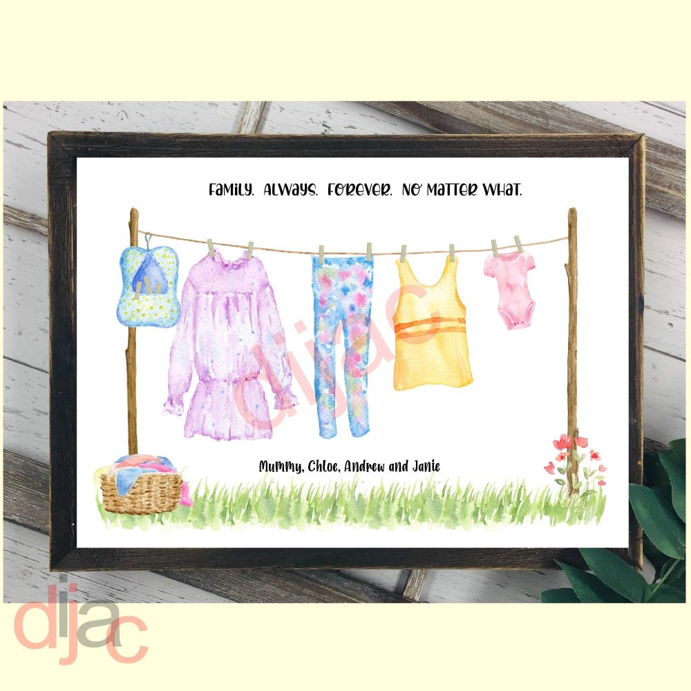 4 CHARACTER WASHING LINE FAMILY PRINT