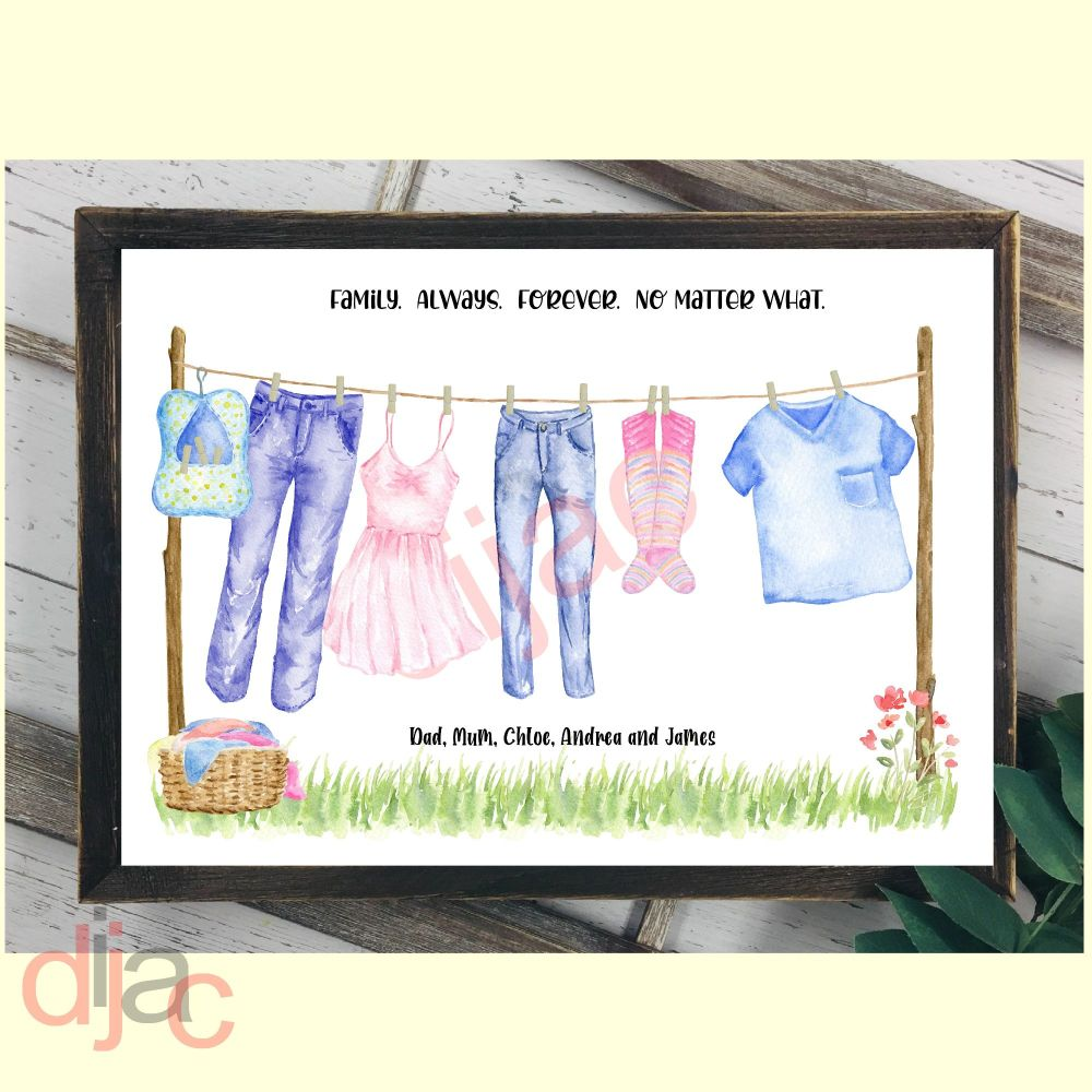 5 CHARACTER WASHING LINE FAMILY PRINT