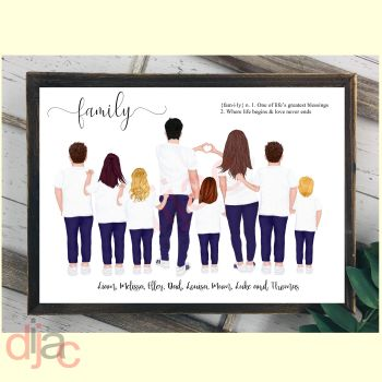 8 CHARACTER JEANS & T-SHIRT FAMILY PRINT