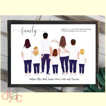 7 CHARACTER JEANS & T-SHIRT FAMILY PRINT
