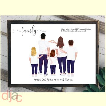 5 CHARACTER JEANS & T-SHIRT FAMILY PRINT