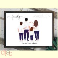 4 CHARACTER JEANS & T-SHIRT FAMILY PRINT