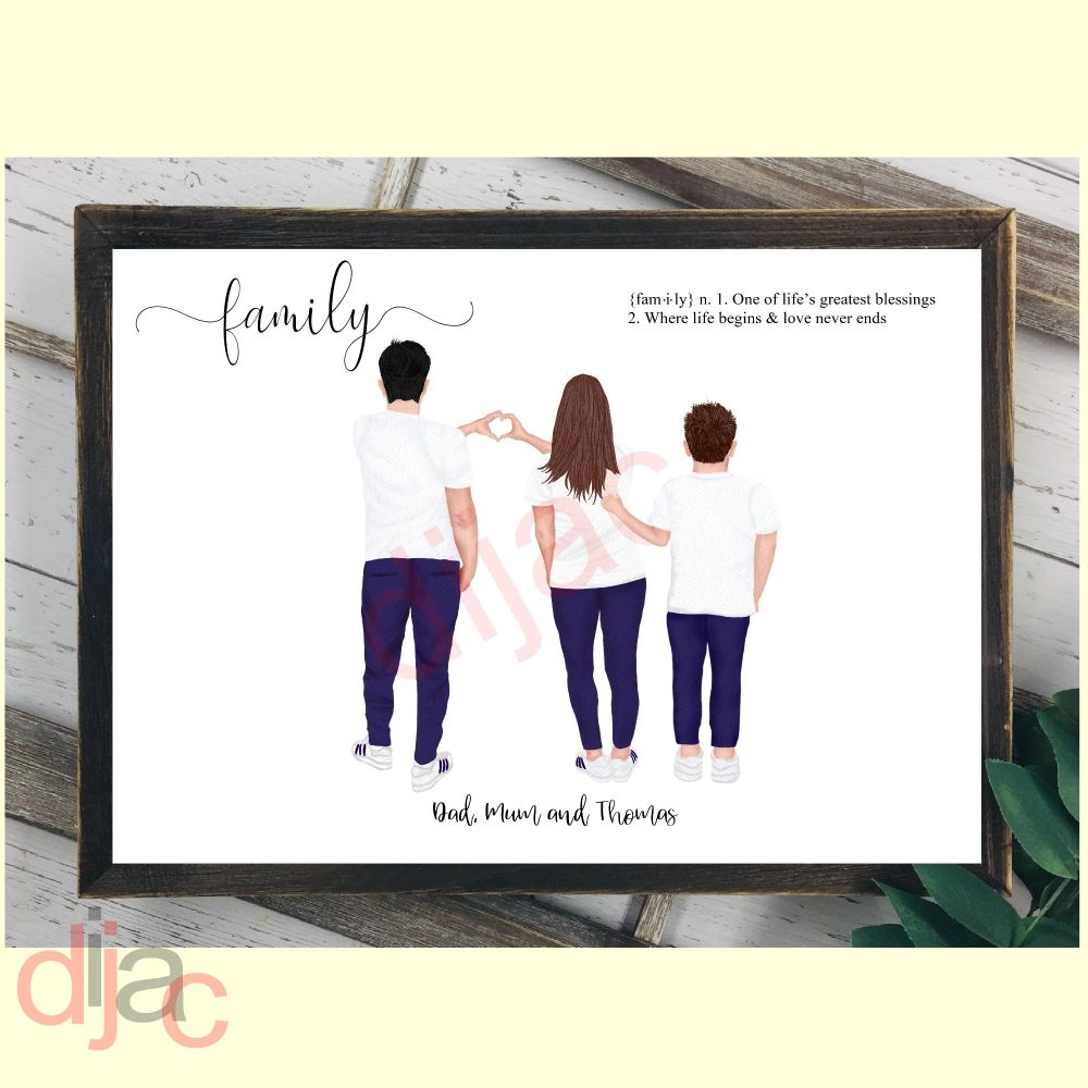 3 CHARACTER JEANS & T-SHIRT FAMILY PRINT